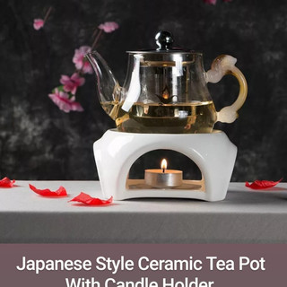 Japanese Style Ceramic Tea Pot With Candle Holder.