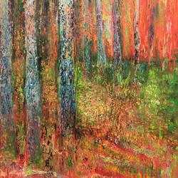 Rote Waldlandschaft 1m x 1m Öl