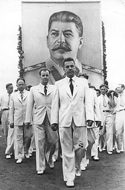 Banner of Stalin in Budapest in 1949