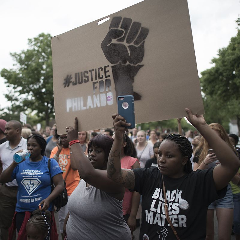BLM     Protest march in response to the shooting of Philando Castile, St. Paul, Minnesota on July 7, 2016