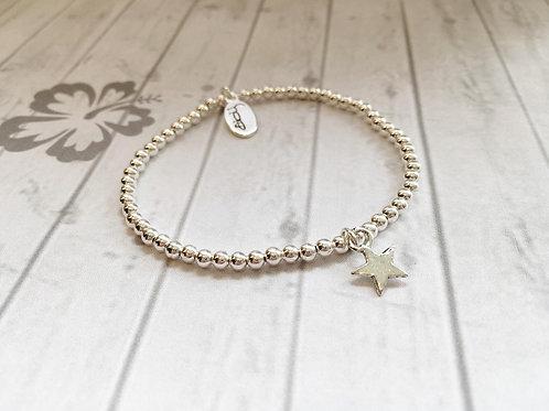 Small Silver Star Charm Bracelet