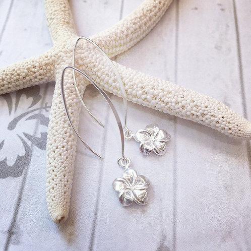 Sterling Silver Hibiscus Flower Earrings