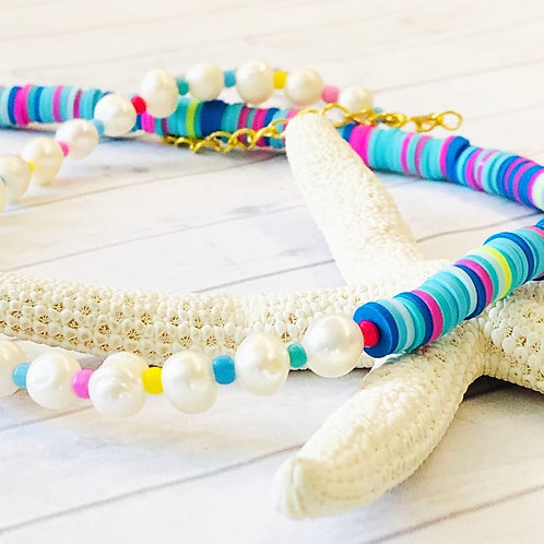 Freshwater Pearls & Bright Heishi Bead Blues Necklace