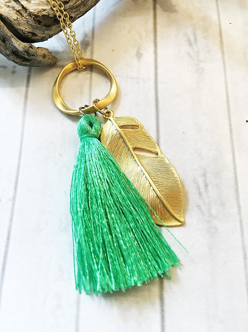 Bright Green Silk Tassel & Gold Feather Pendant Necklace