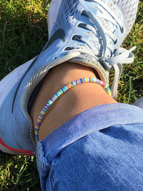 Multi Coloured Pastel Vinyl Disc Ankle Bracelet