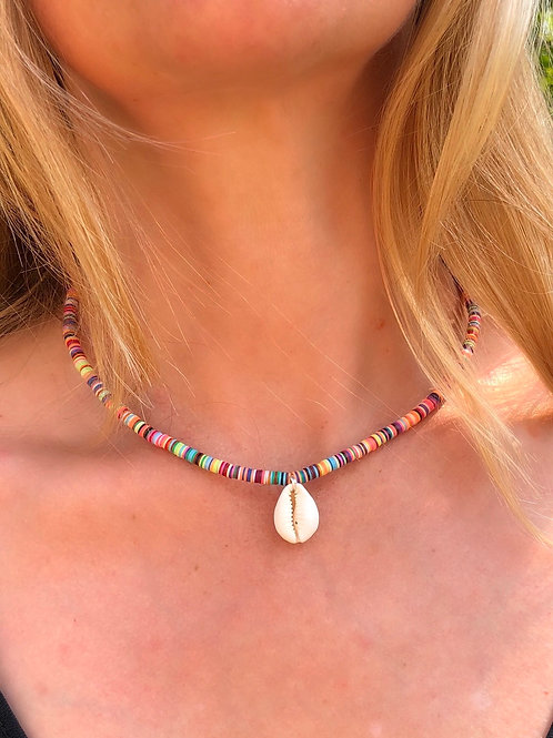 Cowrie Shell & Vinyl Disc Bead Necklace