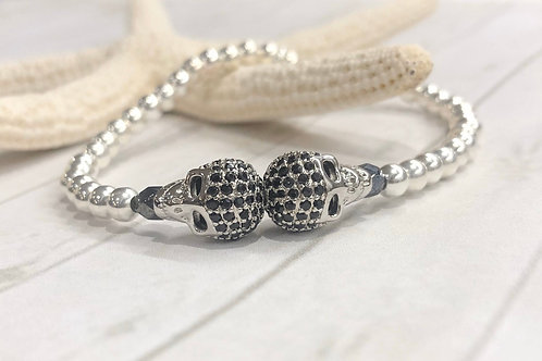 Double Silver Skull Bracelet
