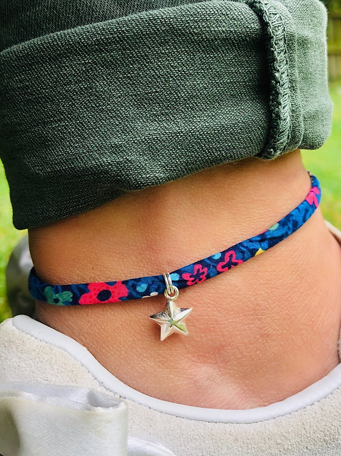 Liberty of London Print Ribbon Ankle Bracelet with Sterling Silver 3D Star Charm