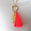 Thumbnail: Bright Coral Pink Silk Tassel & Gold Feather Pendant Necklace