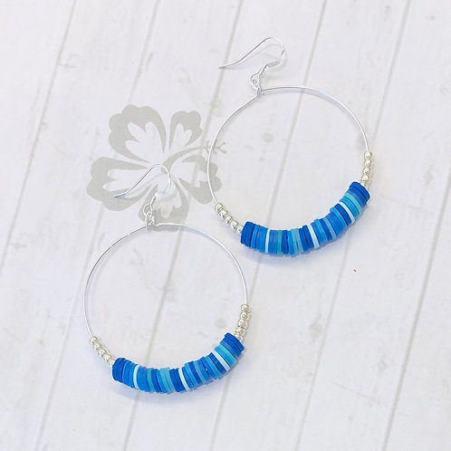 All the Blues Sterling Silver Hoop Earrings