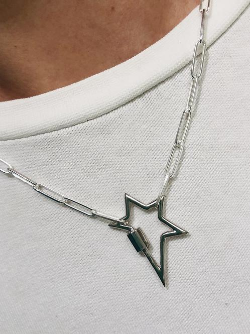 Silver Carabiner Star Pendant Necklace