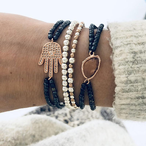 Rose Gold Peach Glass with Navy Beaded Bracelet