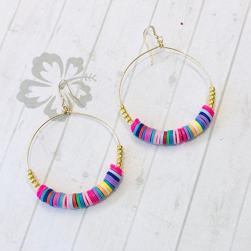 Bright Multi Colour Gold Hoop Earrings