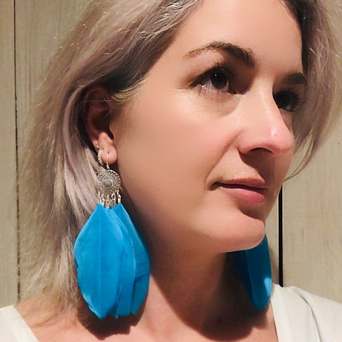Blue or Fuchsia Pink Feather Earrings