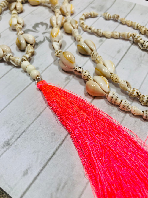 Shell and Coral Pink Silk Tassel Long Necklace