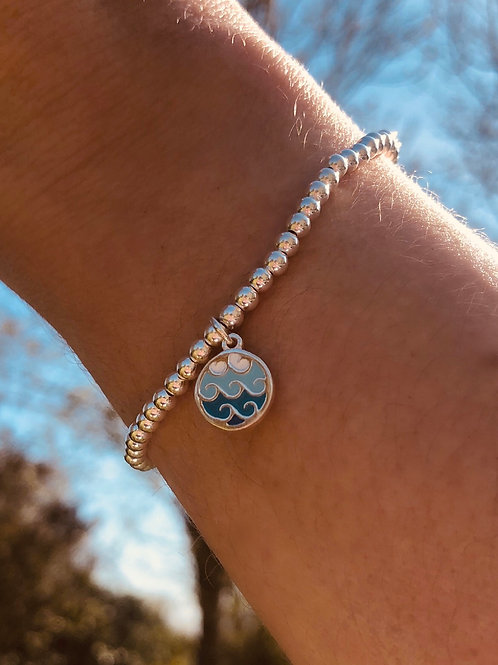 Sterling Silver Wave Charm Bracelet