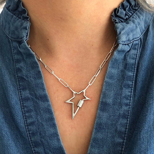Silver Carabiner Star Pendant Necklace