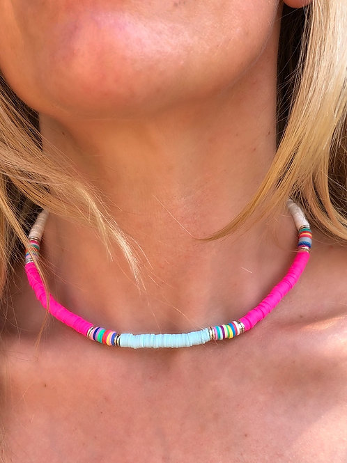 Bright Heishi Bead Necklace (White, Bright Pink & Pale Blue)