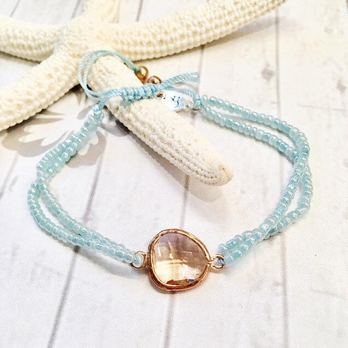 Rose Gold Peach Glass with Pale Aqua Beaded Bracelet