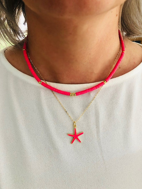 Pink & Gold Two In One Layering Necklace