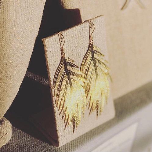 Gold Filigree Leaf Earrings