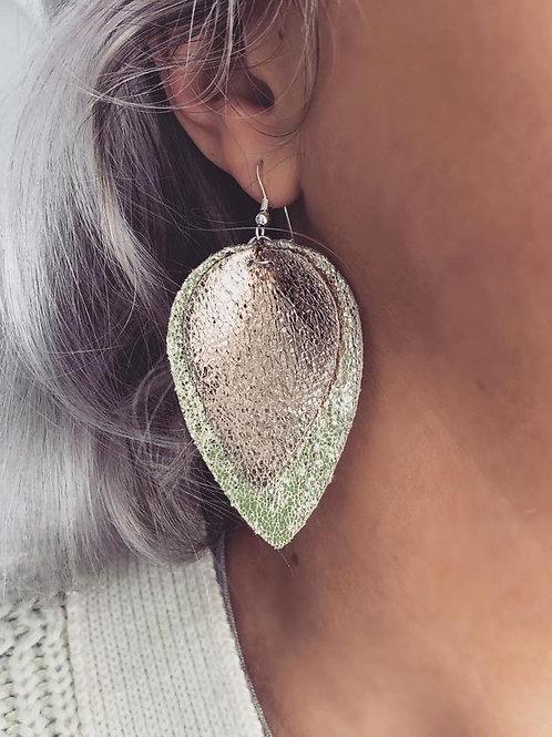Faux Leather Metallic Petal Earrings