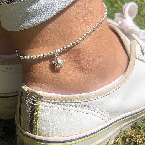 Sterling Silver Puff Star Charm Ankle Bracelet