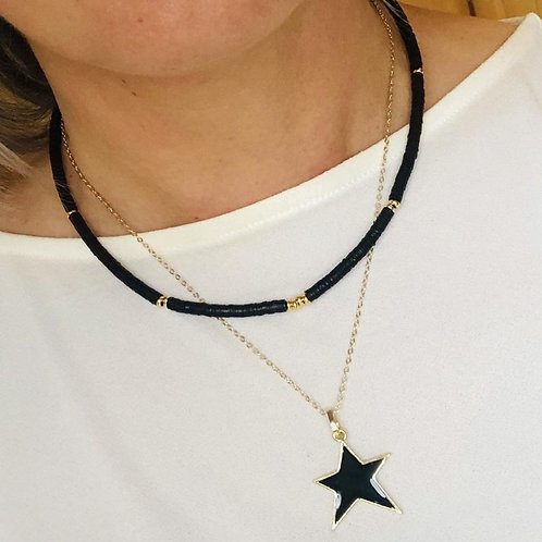 Black & Gold Two In One Layering Necklace