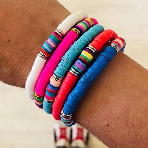 Bright Heishi Bead Bracelet