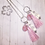 Thumbnail: Pink Silk Tassel, Pink Opal & Silver Feather Pendant Necklace