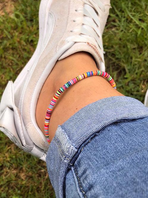 Multi Coloured Vinyl Disc Ankle Bracelet