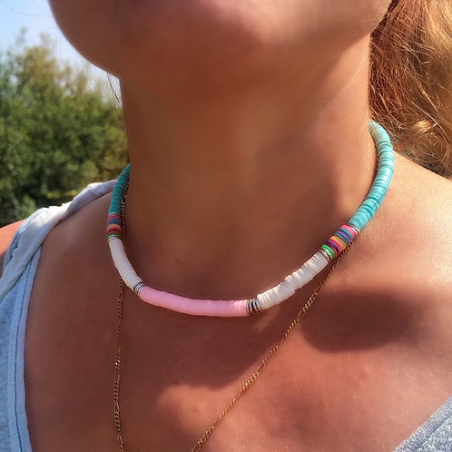 Bright Heishi Bead Necklace (Teal, White & Pink)