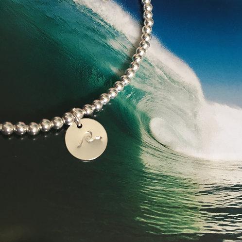 Hand Stamped Wave Charm Ankle Bracelet
