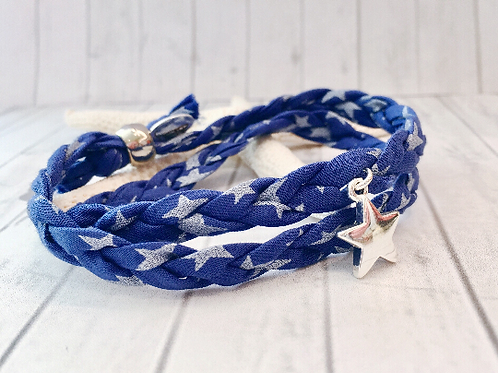 Liberty of London Star Print Fabric Double Wrap Bracelet with Star Charm