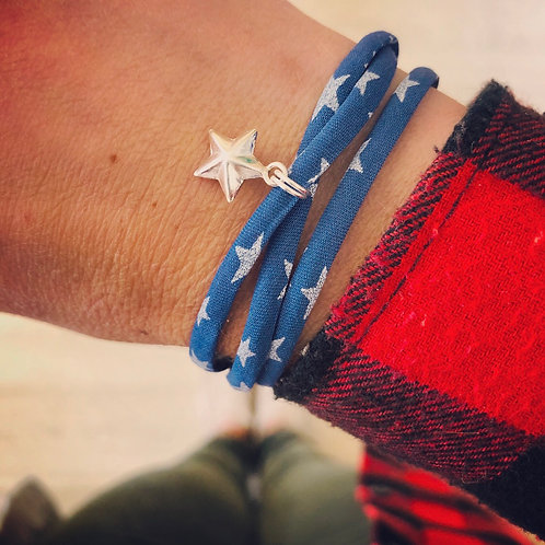 Liberty of London Star Print Fabric Triple Wrap Bracelet with 3D Star Charm