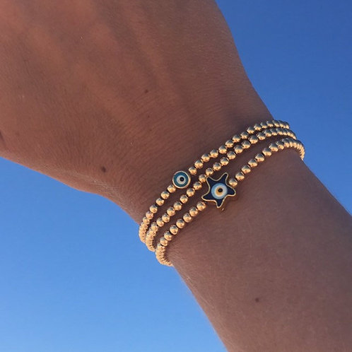 Gold Evil Eye Stacking Bracelets
