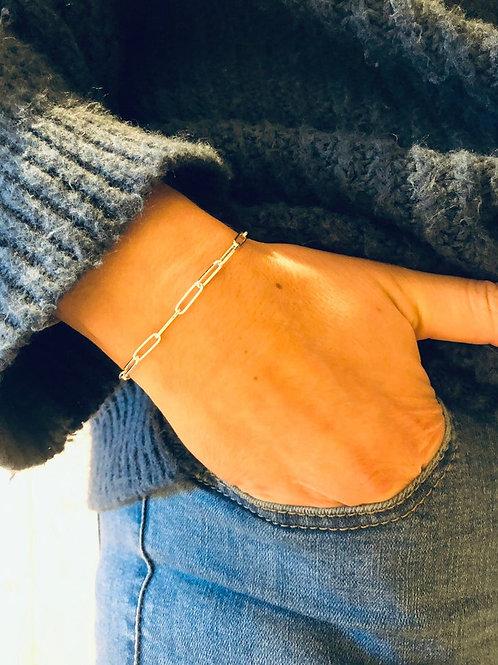 Silver Paper Clip Chain Bracelet