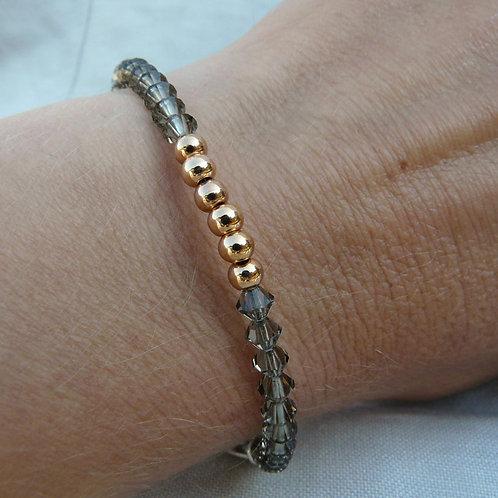 Rose Gold & Gunmetal Beaded Bracelet
