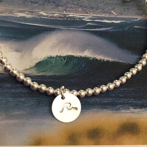 Hand Stamped Wave Charm Bracelet