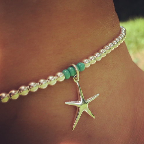 Sterling Silver Starfish Ankle Bracelet