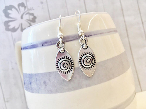 Silver Tribal Evil Eye Earrings