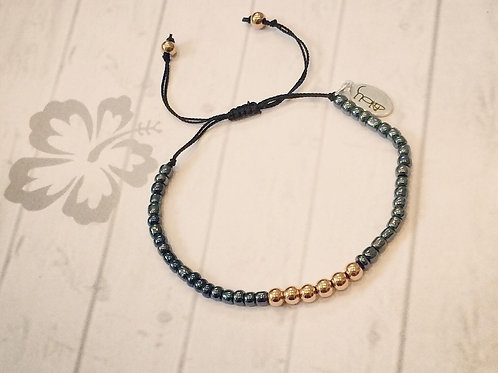 Rose Gold & Navy Beaded Bracelet