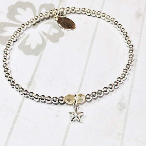 Silver 3D Puff Star Charm Bracelet