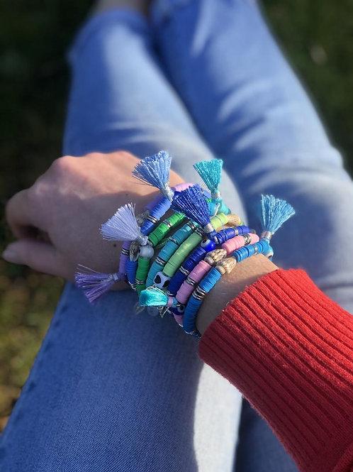 Bright Disc Tassel Shell Bracelets