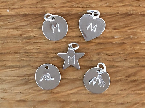 Personalised Initial Charm, Mountain or Wave Charm Only (add-on)