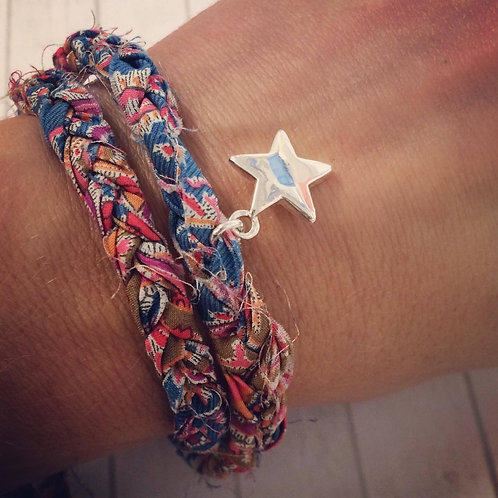 Liberty of London F&I Print Fabric Double Wrap Bracelet with Star Charm