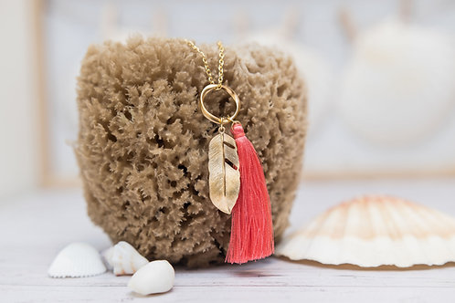 Watermelon Pink Silk Tassel & Gold Feather Pendant Necklace