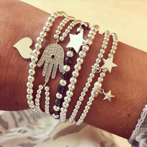 Sterling Silver Stacking Bracelets Set