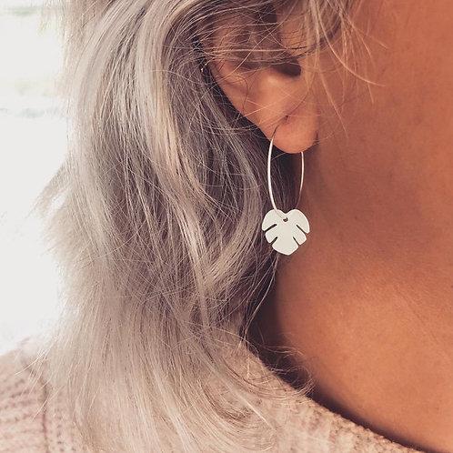 Silver Tropical Leaf Earrings