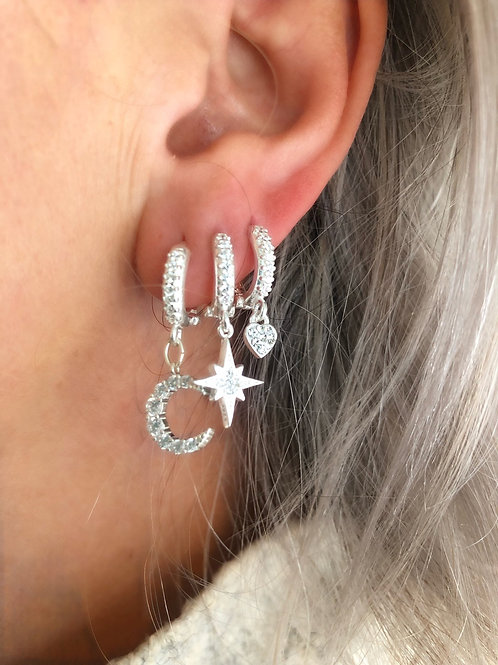 Sterling Silver Huggie Earrings - Heart, Crescent Moon or North Star